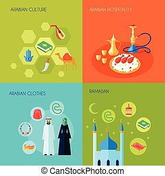 Arabic culture design concept set with hospitality clothes and ramadan flat icons set isolated vector illustration