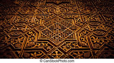 Arabic decoration on acient wall - Alhambra in Granada,...