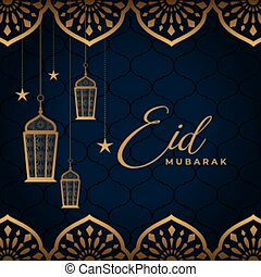 arabic decorative eid mubarak festival golden greeting