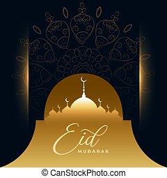 arabic eid mubarak festival wishes card design