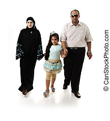 Arabic family walking on white