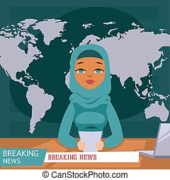 Arabic female news anchor on tv breaking news background, flat vector illustration. Female television arabian reporter in traditional clothes with information on paper and laptop.