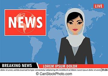 Arabic female news anchor on tv breaking news background,