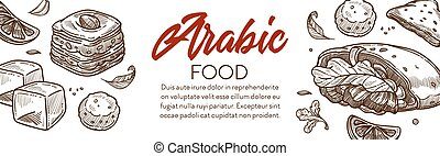 Arabic food and middle eastern cuisine dishes banner with ...