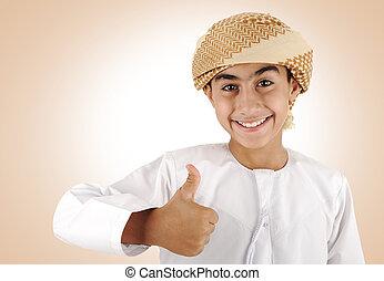Arabic kid with thumb up