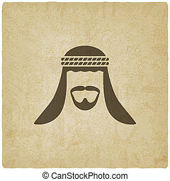 Arabic man avatar old background - vector illustration. eps...