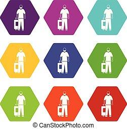 Arabic man icon set color hexahedron