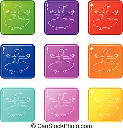 Arabic man icons set 9 color collection
