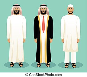 Arabic man wearing traditional clothing. Culture clothes,...