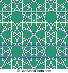 Arabic mosaic - Green Arabic Byzantine seamless pattern...
