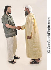 Arabic Muslim businessman person shaking hands