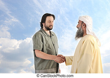 Arabic Muslim businessman person shaking hands