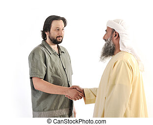 Arabic Muslim businessman person shaking hands on meeting