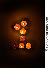 arabic numer 1 from candles