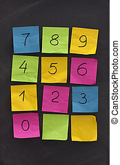 arabic numerals on sticky notes and blackboard