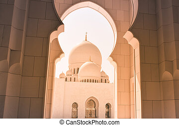 Arabic oriental islamic style geometric pattern building.