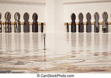 Arabic oriental islamic style geometric pattern windows. Arch shape architecture exterior design concept.