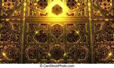 Seamless looping video animation of golden geometric Arabic ornamental