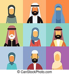 Arabic Profile Avatar Set Icon Arab Business People, Portrait Muslim Businesspeople Collection Face