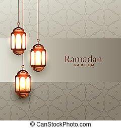 arabic ramadan kareem background with hanging lanterns