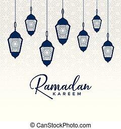 arabic ramadan kareem design with hanging lamps