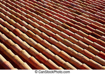Arabic roof tiles in Teruel of Spain