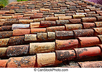 Arabic roof tiles pattern texture in Teruel Spain