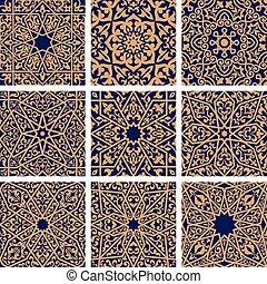 Arabic seamless floral pattern set for tile design