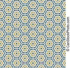 Arabic Seamless Pattern Background - Vector Arabic honeycomb...