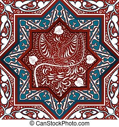 Arabic Seamless Pattern with bird Phoenix