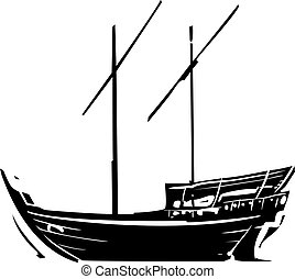 Arabic Ship Dhow - Woodcut style image of an a traditional...