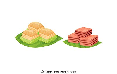 Arabic Sweets with Famous Rahat Lakoum Vector Set. Oriental Pastry and Delights Concept