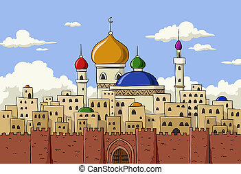 Arabic town - Cartoon background of Arab town, vector...