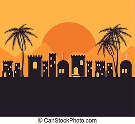 arabic town landscape with buildings and palms. vector illustration