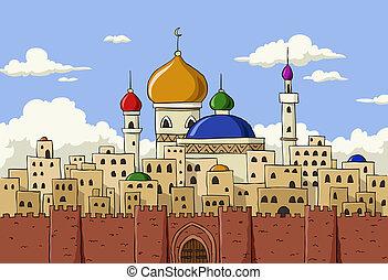 Arabic town - Cartoon background of Arab town, vector...