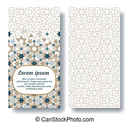 Arabic wedding double card for invitation, celebration, save the date, performed in arabic geometric tile. Colofrul vector template.