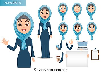 Arabic woman constructor set. Cute businesswoman cartoon character with various face expressions and different things.