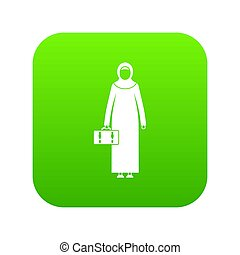Arabic woman icon digital green