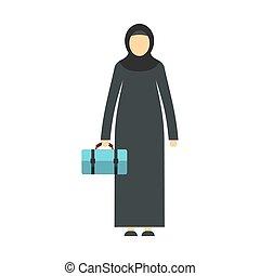 Arabic woman icon, flat style