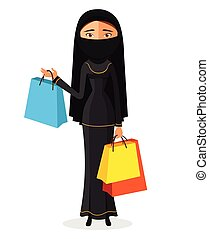 Arabic woman with shopping bags flat cartoon vector illustration. Eps10. Isolated on a white background.
