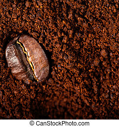 Arabica Coffee beans macro on a brown background close up, ...