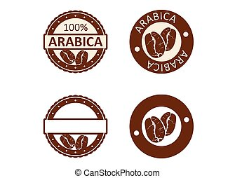 Arabica coffee. Modern rubber stamp with coffee beans. In...