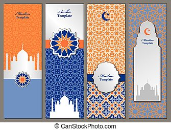 Arabic,islam,muslim pattern banners,templates set