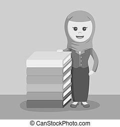 arabier, businesswoman, naast, boek, stander, stapel