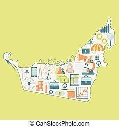arabier, emirates's, technologie, map: