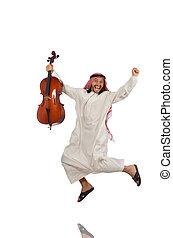 arabier, instrument, man, muzikalisch, spelend