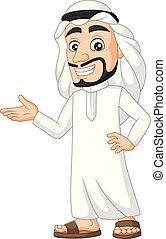 arabier, saoediër, het voorstellen, spotprent, man
