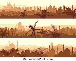arabier, stad, banieren, sunset., groot