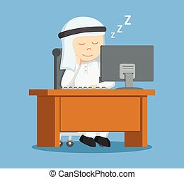 arabier, zakenman, werken, slapend