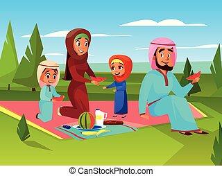 arabisch, familie, draußen, picknick, vektor, abbildung